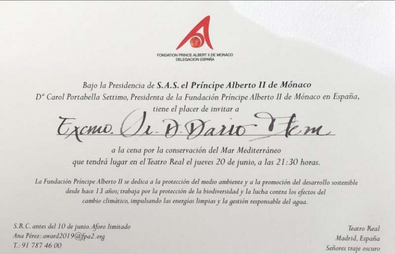 Invitation by The Prince Albert II Of Monaco Foundation to a dinner for the conservation of the Mediterranean Sea