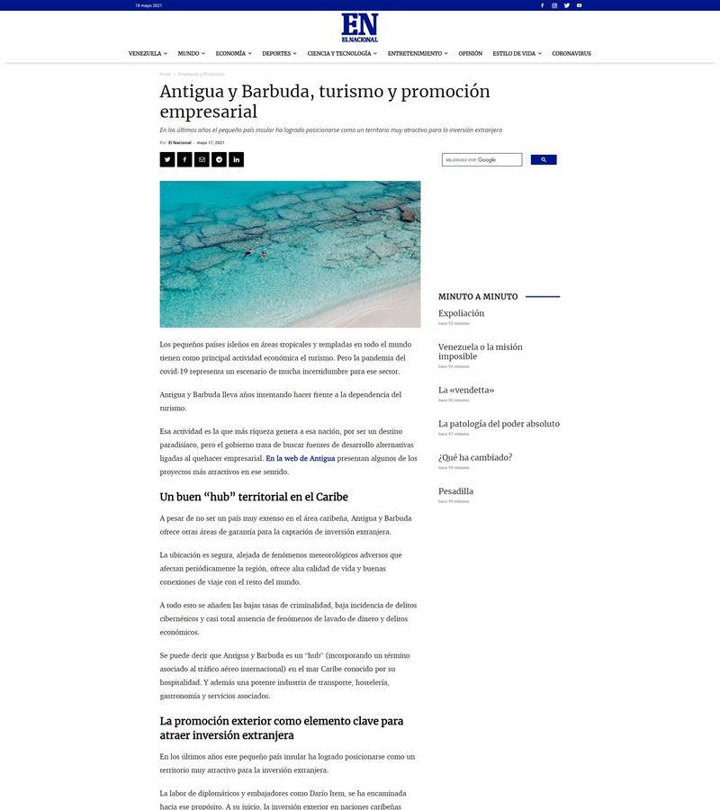 Antigua y Barbuda, turismo y promoción empresarial