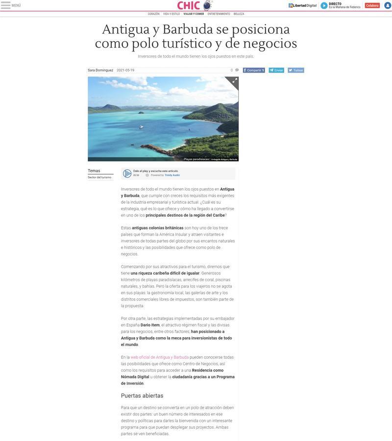Antigua y Barbuda se posiciona como polo turístico y de negocios